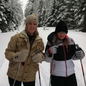 cross country skiing Marcey and Jenna